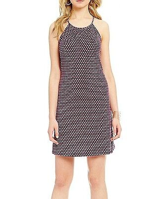 NWT MSRP $98 - MICHAEL KORS Dot Print Halter Jersey Dress, True Navy,  M  L  (Dot Print Jersey)