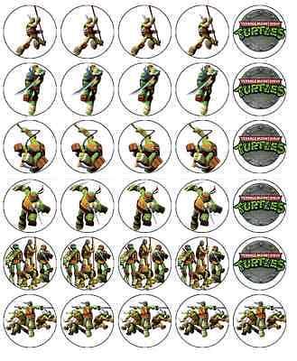 Teenage Mutant Ninja Turtles Cupcake Toppers Edible Paper BUY 2 GET 3RD FREE!](Edible Ninja Turtle Cupcake Toppers)