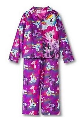 Mlp Pajamas (My Little Pony 2 PC Long Sleeve Coat Pajama Set Girl Size)