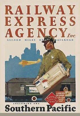 REA Railway Express Agency Trains Vintage Designs on Custom Tee shirt Freight