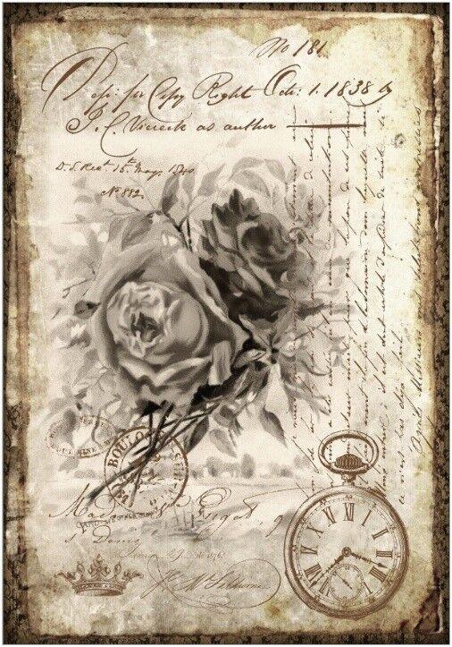 Decoupage-Serviettentechnik-Softpapier-Vintage-Nostalgie-Rose-12204