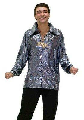 Mens Disco Fever 70's 1970's Seventies Shirt Fancy Dress Costume Plus Size