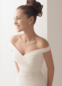 Gorgeous-white-organza-V-neckline-off-shoulder-wedding-bridal-gown-SIZE-custom