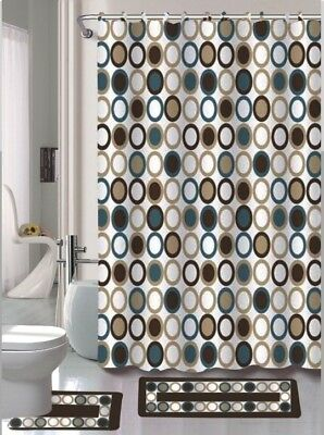 Empire Home 15-Piece Brown & Blue Bathroom Set Rugs - Free Shipping!