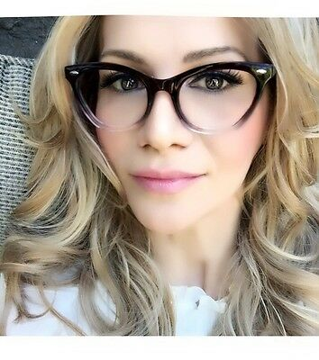 Ombre Gradient Cat Eye Frames Demi Fashion Clear Lens Glasses Eyeglasses (Clear Cat Eye Glasses Frames)