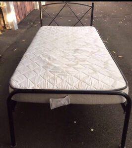 King single back support mattres and rod iron  bed frame Dulwich Hill Marrickville Area Preview