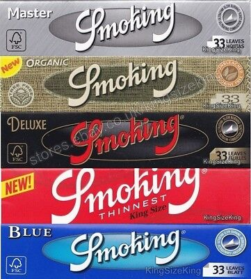 Smoking Kingsize Rolling Papers - Silver, Organic, Deluxe, Red Thinnest Paper ()
