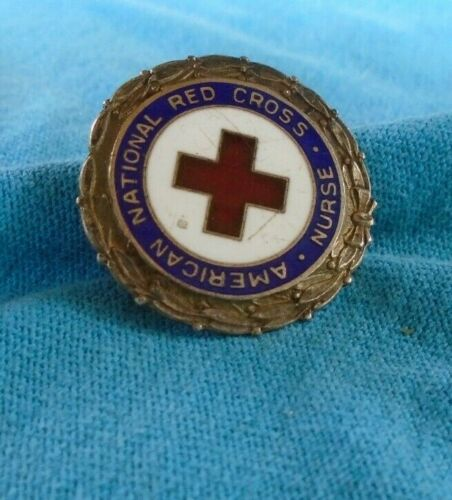 American National Red Cross Nurse numbered pin back