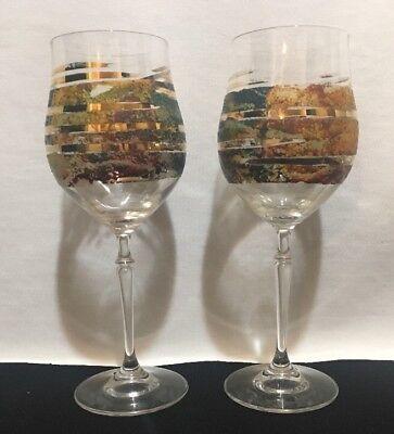 Set von Kristallglas B.Puhringer Handgefertigt Weingläser Österreich Gemalt ()
