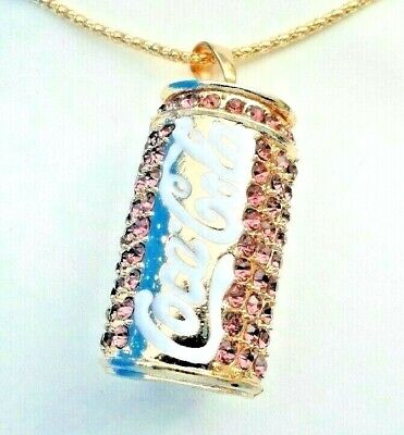 PINK CRYSTAL COCA COLA CAN Betsey Johnson Fashion Jewelry Women Necklace Pendant