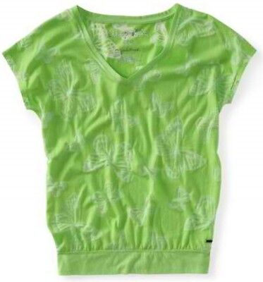 Aeropostale V Neck Green Butterfly Slouchy Burnout Womens Top/shirt/blouse Xxl