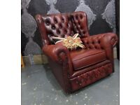 Stunning Chesterfield Monk Back Wing Chair in Oxblood Red Leather - UK Delivery