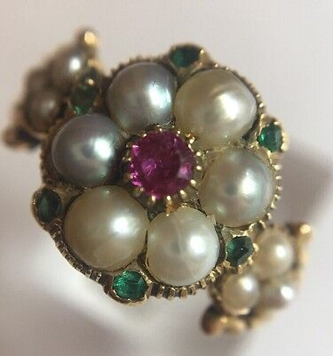 Antique Georgian Pearl Ruby Emerald Highly Ornate Yellow Gold Ring Pretty Band