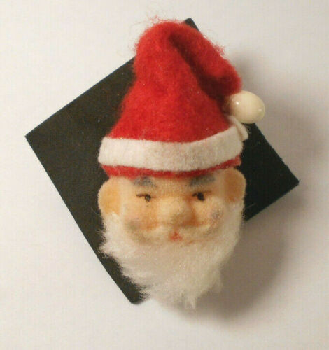 fuzzy Flocked and felt vtg SANTA CLAUS Face tack PIN CHRISTMAS brooch
