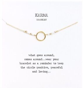 Good Karma Infinity Bracelet White Beads Simple Boho Jewelry Gift Gold W Card