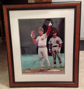 Autographed & Framed PETE ROSE photo w/ Cert. of Authenticity