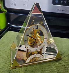 Vintage Post Modern SEIKO Quartz Pyramid Skeleton Office Desk Clock - QAW109G
