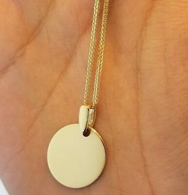 14K Solid Yellow Gold Round Engravable Circle Disc Pendant for Necklace  -