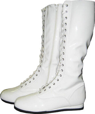 White Adult Pro Wrestling Boots Costume WWF WWE Super Hero Boxing Mens Shoes (Superhero White Costume)