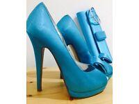 Satin heels & clutch