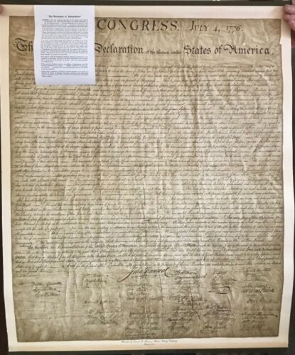 """THE DECLARATION OF INDEPENDENCE COPY 1942 HARRIS BAKING OHMAN CO POSTER 32""""X 26"""""""
