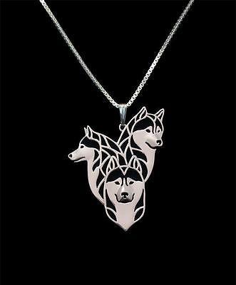 Siberian Husky Family Silver Charm Pendant Necklace, Dog Lover, Friend -