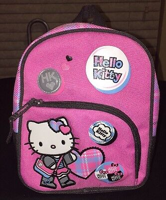 """Hello Kitty Sanrio Pink Plaid Backpack 9""""x8"""" 2008 Back To School"""