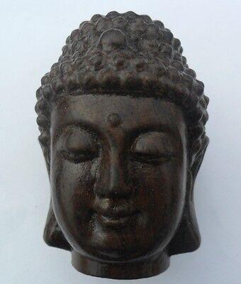 Chinese Hand Carved wooden Tibetan Buddhism Sakyamuni Buddha head Statue
