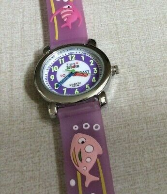 TIME 4 KIDS Watch Waterproof Purple Fish Band Helps You Teach Time to Your Child](Blackbeard Band)