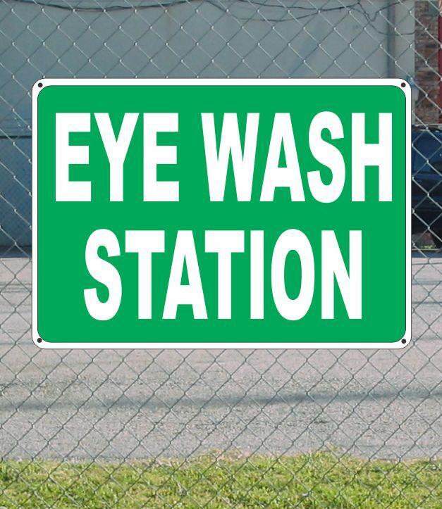 "GREEN EYE WASH STATION METAL Sign White Text 12""x18"""