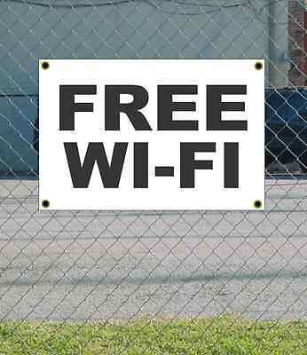 2x3 Free Wi-fi Black White Banner Sign New Discount Size Price Free Ship