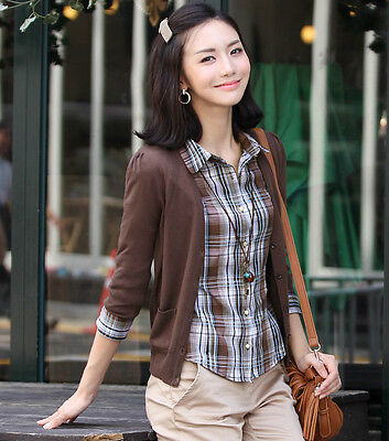 StyleOnMe_Feminine Basic 3/4 Sleeve Cardigan_Brown_Free Shipping_Made in Korea