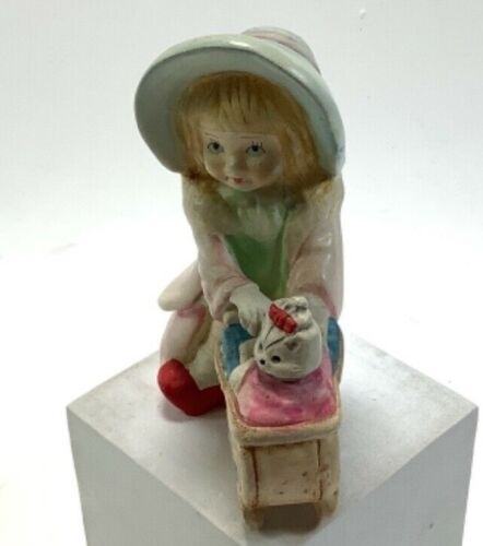 """Vintage Figurine GirlIn Hat Pushing Cart W/ Small Dog 4.5""""x3"""""""
