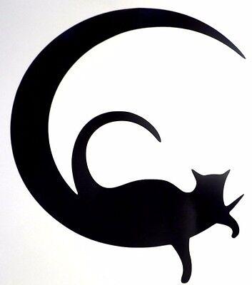 Sexy Cat In Moon Tail Halloween Car Window Vinyl Decal Sticker Choose 12 Colors](Halloween Window Animation)