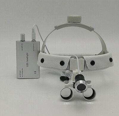 Dental Surgical Binocular 3.5x420mm Leather Headband Loupe Led Headlight White