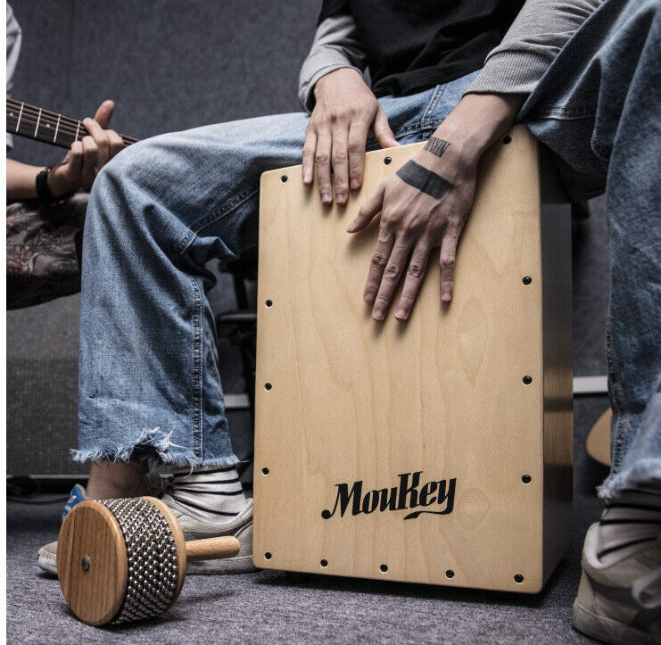 Moukey Full Size Cajon Box Drum Birchwood Percussion Internal Guitar Strings