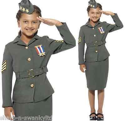 Mädchen 1940s Jahre WW2 Armee Land D-Day Büchertag Kostüm Kleid Outfit