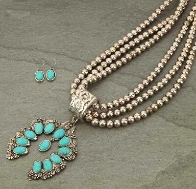 Western Faux Turquoise Squash Blossom Charm Long Three Layer Beaded Necklace (Beaded Set Necklace)