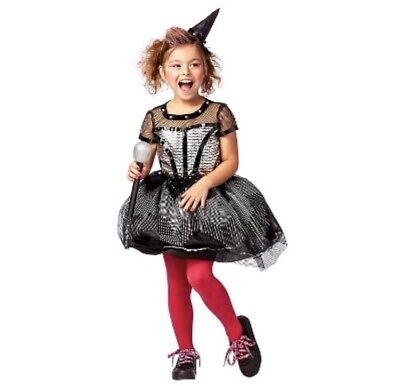 Rock Star Witch Costume Child Size L (10-12) Halloween Dress Studded Black NEW](Rock Star Costume Kids)