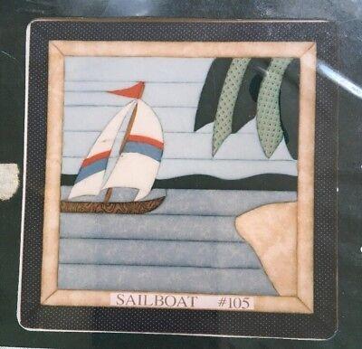 "Quilt Magic Kit No Sew Wall Hanging Kit #105 Sailboat Nautical 11 1/2"" x 11 1/2"""