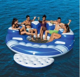 Bestway coolerZ Blue 6-person Floating Island Lounger Raft Pool Toy