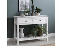 Hallway Table with 2 Drawers in Classic White