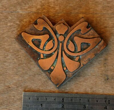 Letterpress Printing Block Corner Ornament Art Nouveau Frame Wood Rare Copper ..