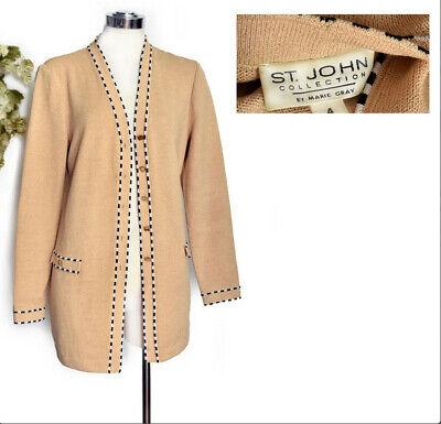 80s Sweatshirts, Sweaters, Vests | Women ST JOHN Cardigan Sweater Jacket Vintage 1980's Beige Marie Gray $25.00 AT vintagedancer.com