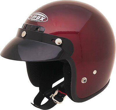 GMAX GM2 Open-Face Motorcycle Helmet (Wine Red) Choose Size - Face Motorcycle Helmet Wine