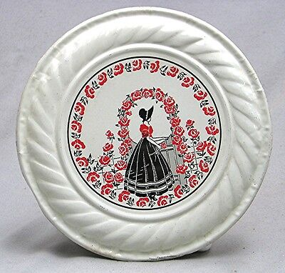 Vintage Tin Flue Cover -- Red Climbing Roses with Woman in Black Skirt & Bonnet