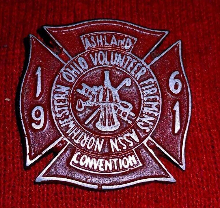 1961 Ashland Firemans Convention Badge Medal Pin