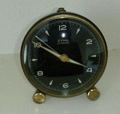 Cyma Amic Vintage Swiss Wind up Alarm Clock 10 Jewel - Working!