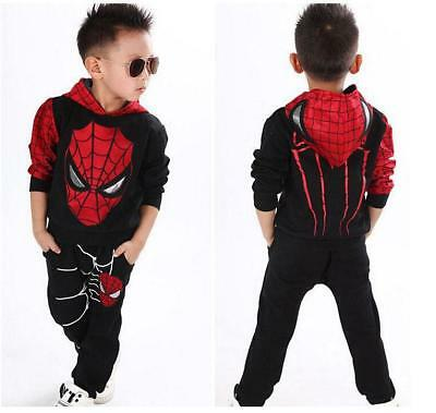 2PCS Kids Baby Boys Clothes Long Sleeve Spiderman Top+Pants Sportwear Outfits ](Boys Spiderman Top)