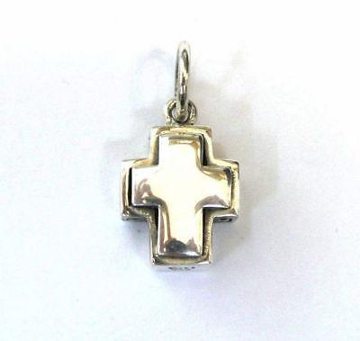 Design Cross Charm - Vintage Designer sterling silver cross charm, Back cross Filigree
